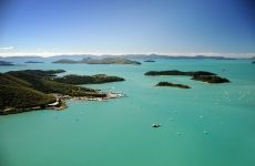 The amazing aqua colour of the waters of the Whitsundays, looking down on Shute Harbour