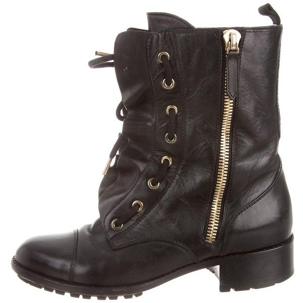 Pre-owned Valentino Combat Boots ($625) ❤ liked on Polyvore featuring shoes, boots, black, black boots, leather lace up boots, combat boots, black leather shoes and zipper combat boots