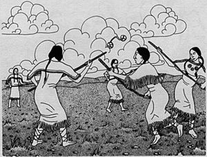 Cree First Nations Games- Use for a PE co-operative game? Would require preparation of making the double-ball. Use pantyhose and some bean bags? and http://epe.lac-bac.gc.ca/100/200/301/ic/can_digital_collections/games/index.html