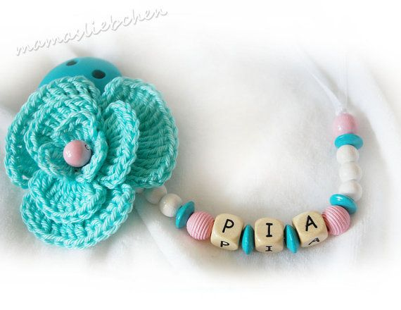 Pacifier clip chain / Dummy holder keeper by mamasliebchen on Etsy, $15.90.