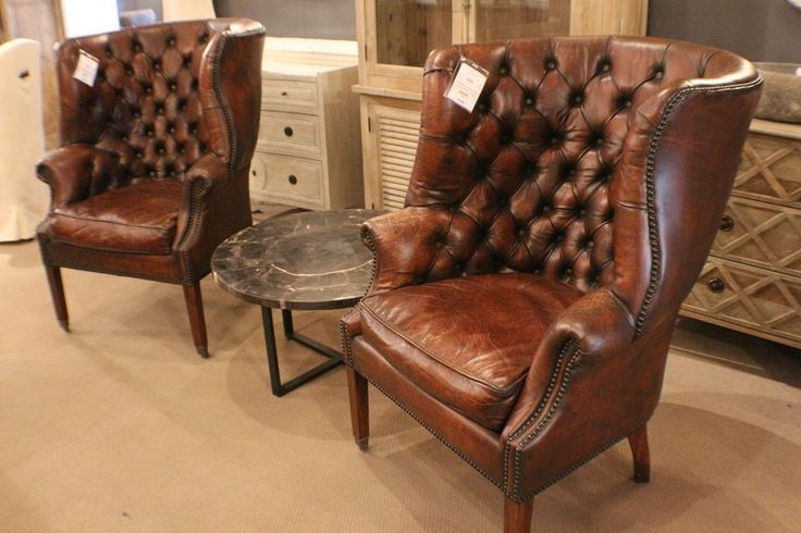 45 Quot H Beautiful Arm Chair Top Grain Brown Tufted Leather