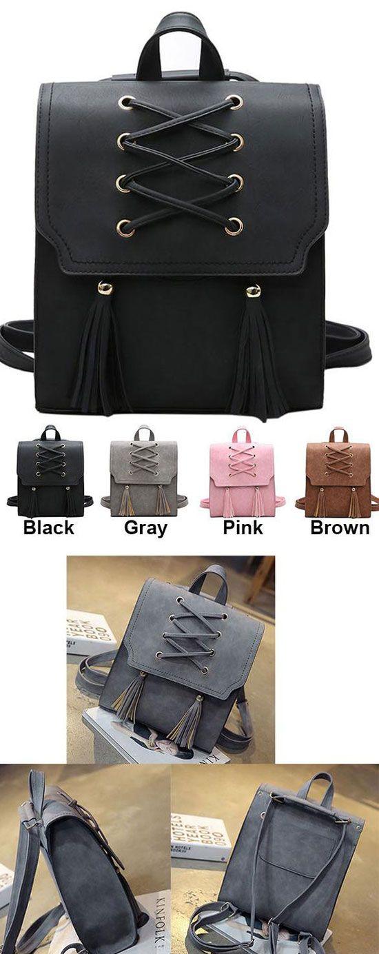 Retro Girl's Cross Bandage Tassels Flap Square School Bag Weave Leisure Brown Travel Backpack for big sale! #retro #cross #tassel #square #backpack #bag #school