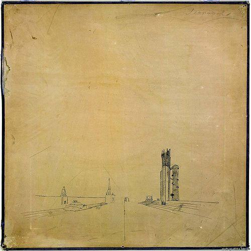 Soviet avant-garde architect Ivan Leonidov's Narkomtiazhprom proposal, 1934