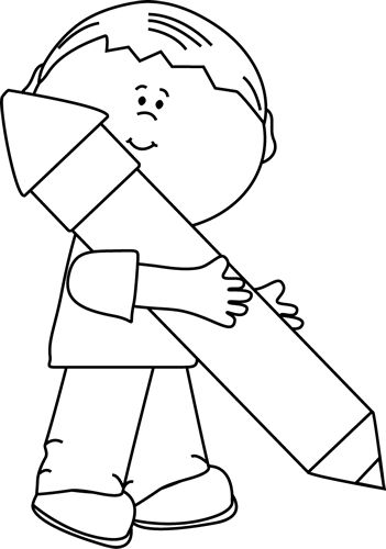 Black and White Boy Holding a Big Pencil Clip Art - Black and White Boy Holding a Big Pencil Image