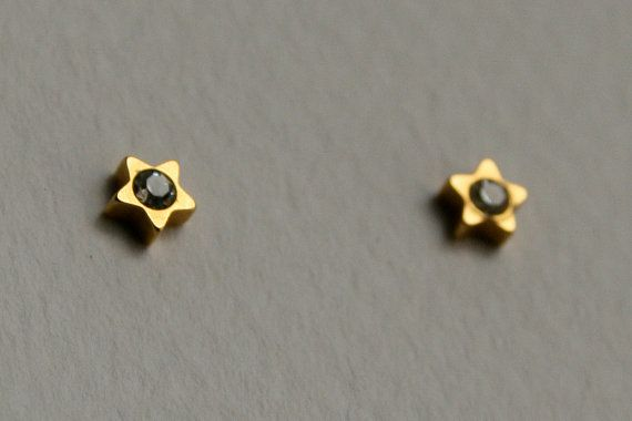 star earrings strass gold plated earrings by MisBaratijas on Etsy