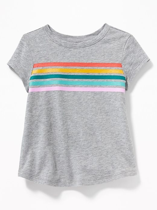 48dd05c03 Old Navy Toddlers' Printed Crew-Neck Tee Rainbow Chest Stripes Size 18-24 M