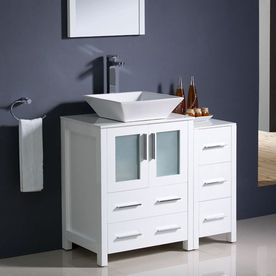 Fresca Bari White Vessel Single Sink Bathroom Vanity with Ceramic Top (Faucet Included) (Common: 36-in x 18-in; Actual: 36-in x 18.13-in)