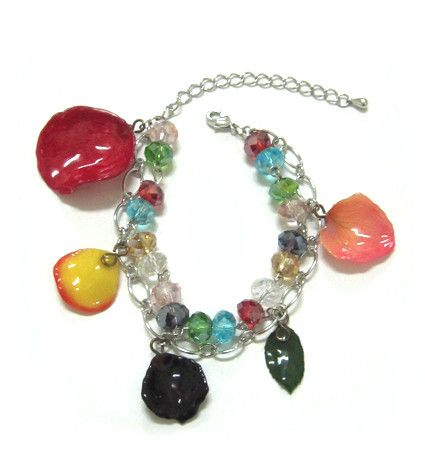 5 pieace of Rose Petal and Glass Beads Bracelet - Sarah Blue collections