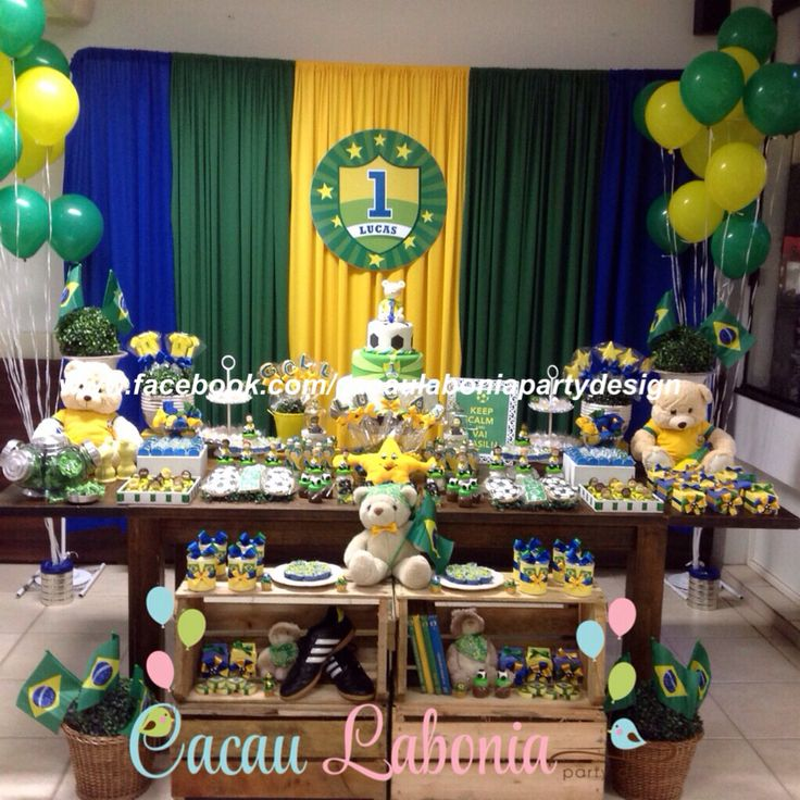 Mesa completa decorada! Keep calm and Vai Brasil!  Festa do Brasil, Brazil Party, Festa da Copa, Cup Party