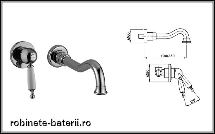 Baterie lavoar ingropata Oxford model retro