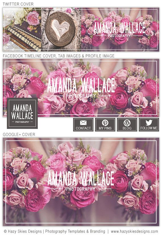 Social Media Cover Templates Facebook Timeline Cover Template Google Plus Cover Template Twitter Cover Template for Photographers SMS101 (17.00 USD) by hazyskiesdesigns