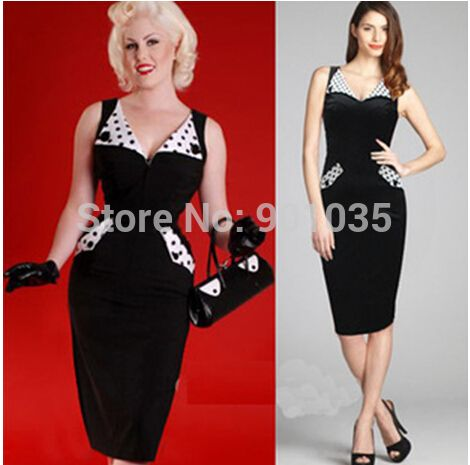 Free Shipping Black 50s Rockabilly Vintage Retro Pinup White Collar Cuff Pencil Shift Dress Size  8-24