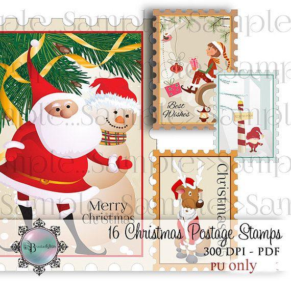 Christmas Postage Stamps  Santa Claus  Reindeer  by Beauladigitals
