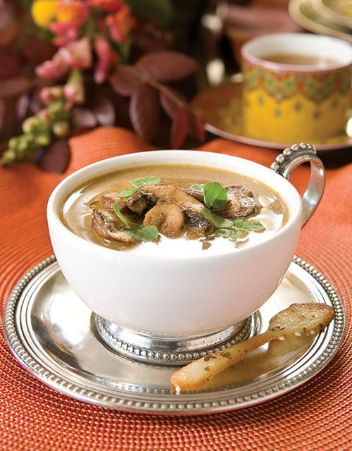 Your guests will delight in Wild Mushroom and Chestnut Soup, served with Edible Whole-Grain Spoons.