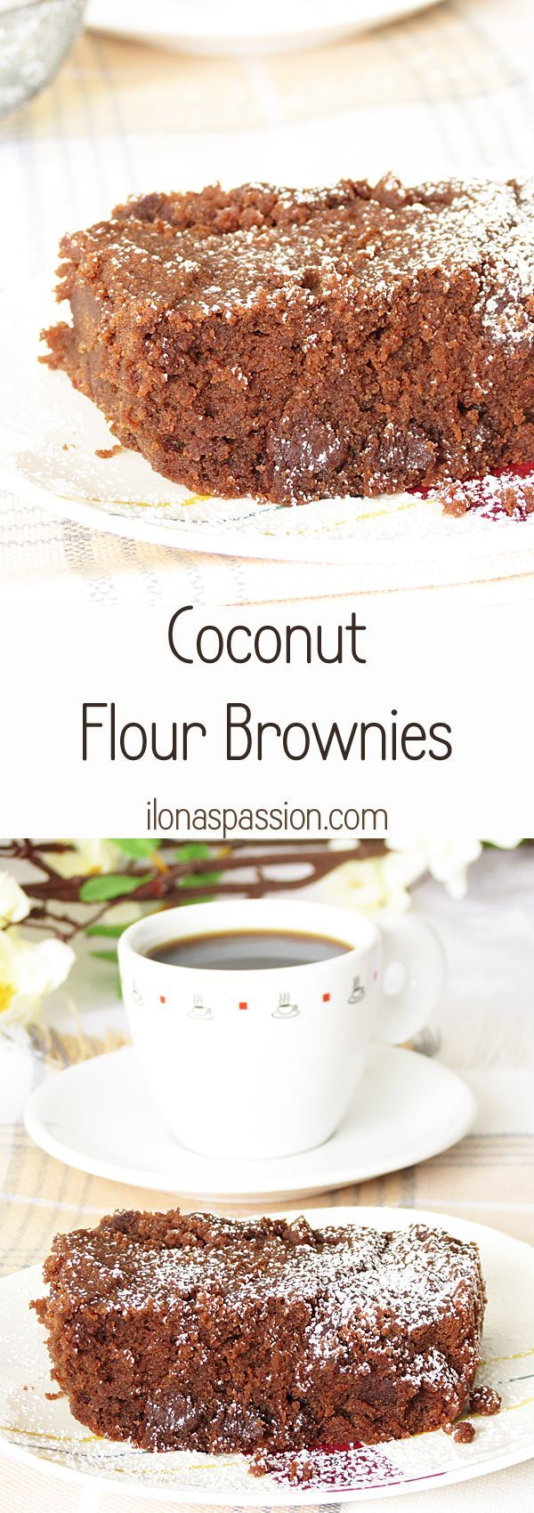 Chocolaty Brownies made with coconut flour by http://ilonaspassion.com