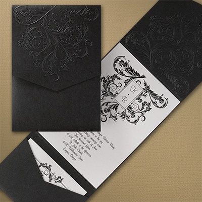 """Embossed Flourish  White and Black Invitations Embossed flourishes cover this black pocket that houses your enclosures and white shimmer invitation card topped with a beautiful flourish design and rhinestone. This invitation comes fully assembled. Product Details •Dimensions: 5 1/2"""" x 7 1/2"""" Folder •Type of Printing: Thermography •Price Includes: Printed invitation card attached to pocket with attached rhinestone and blank single white pointed flap envelope"""