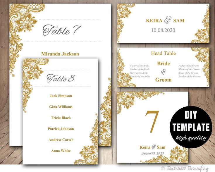 Gold Wedding Seating Chart Template Set Place Card Table List Lace