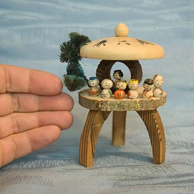 Tiny Japanese wooden kokeshi dolls I