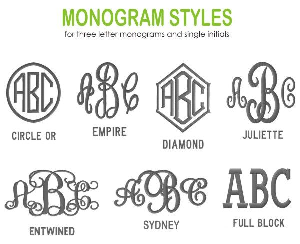 Embroidery Monogram Choices