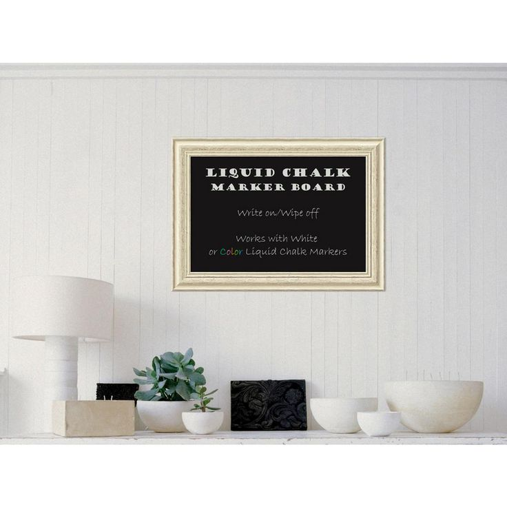 Country White Wash Wood 29 in. W x 21 in. H Framed Liquid Chalk Marker Board