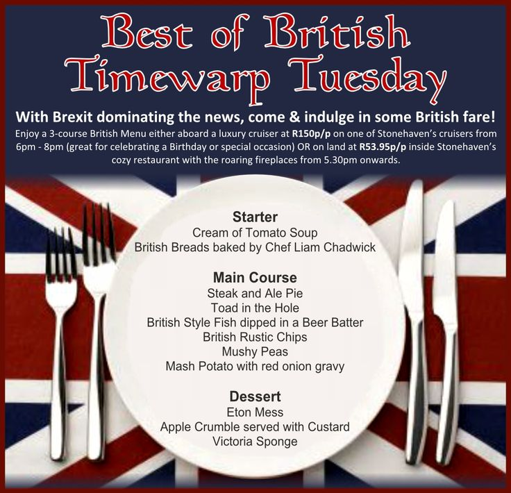 #Brexit getting you down?  Spruce up your mood with the Best of British Time Warp Tuesday - only R53.95p/p for the full 3-course meal or enjoy it on a luxury 2 hour sunset cruise at only R150p/p Book now to reserve your table! info@stonehaven.co.za or 016 982 2951/2