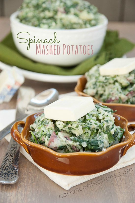 Spinach Mashed Potatoes (Thanksgiving Potluck GIVEAWAY) from www.carlasconfections.com