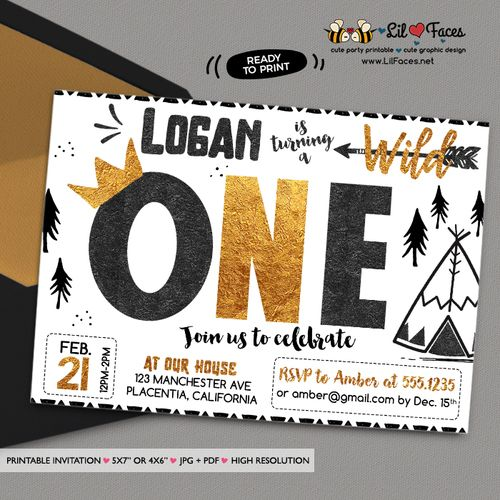 45 best Wild One Birthday Party images on Pinterest Anniversary - best of invitation card birthday party