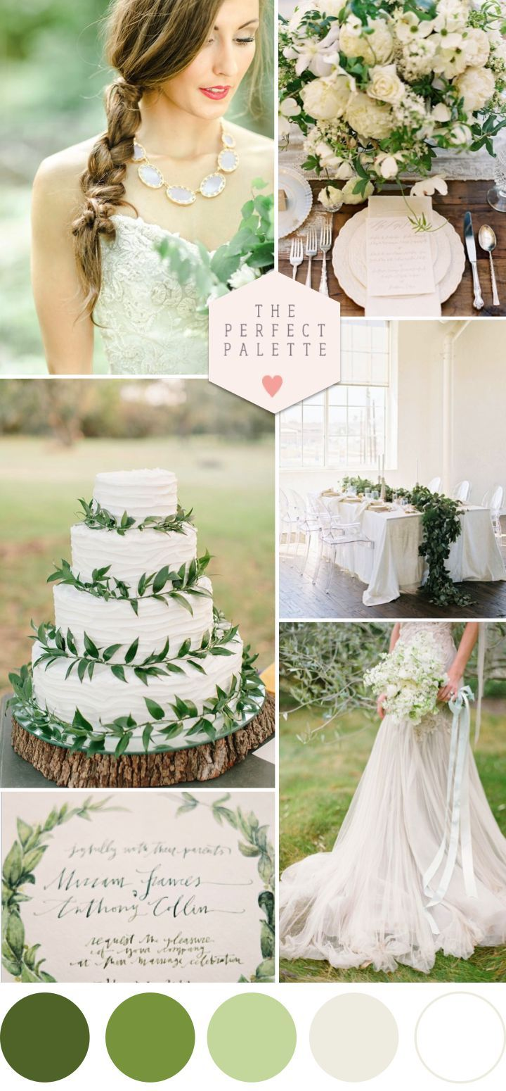 Green Wedding Inspiration - www.theperfectpal... - Color Ideas for Weddings + Parties