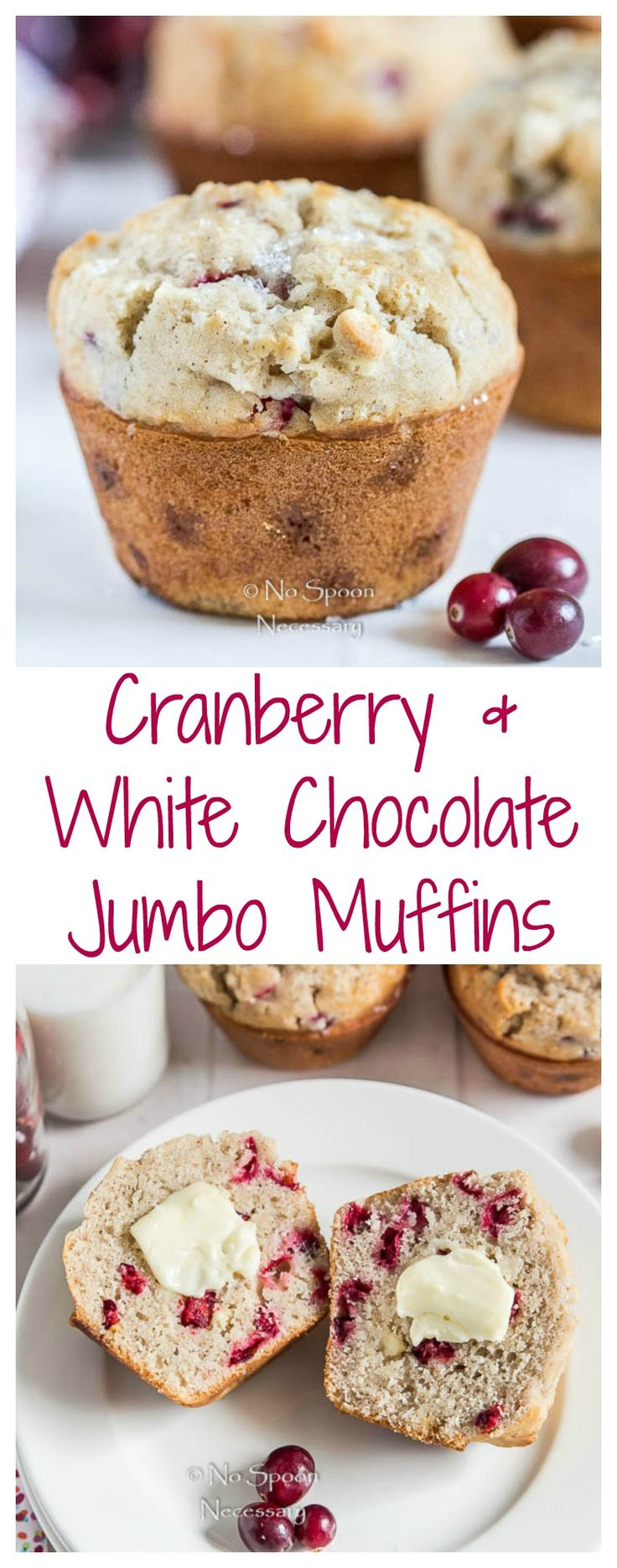 Bakery Style Jumbo Cranberry & White Chocolate Chip Muffins.