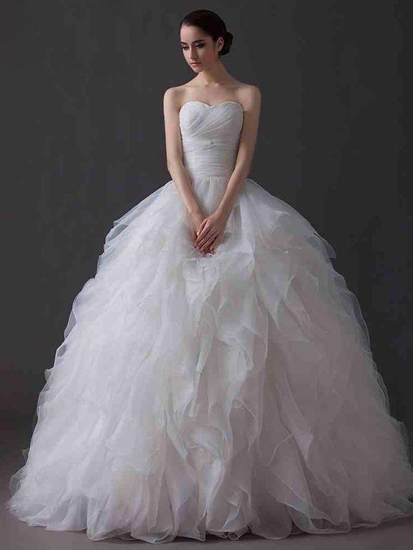 ウェディングドレス プリンセス ハートネック フロアレングス 挙式 ブライダル 結婚式 b14tb0052