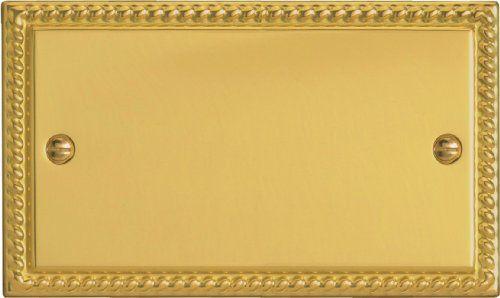Varilight - 2 Gang Double Blank Plate, Georgian Brass Finish - XGDB