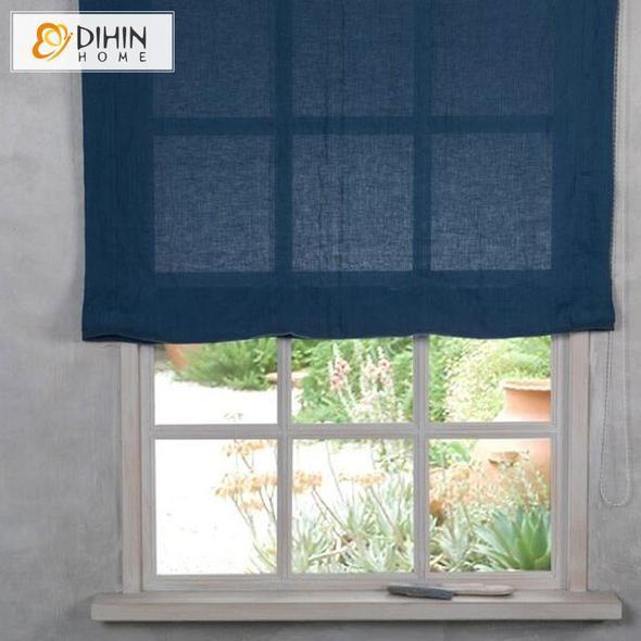 DIHIN HOME Retro Blue Printed Roman Shades,Easy Install