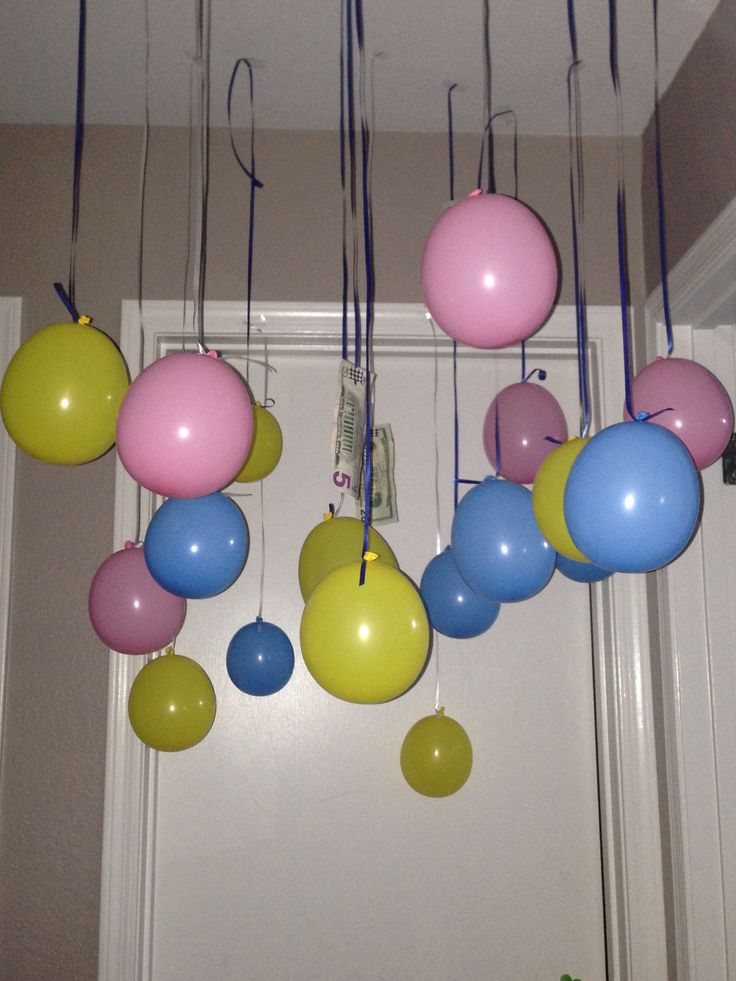 Cash and balloons. Perfect for your kiddos who ask for cash or giftcard for their birthday! Hang it from the ceiling to great them on their birthday morning.