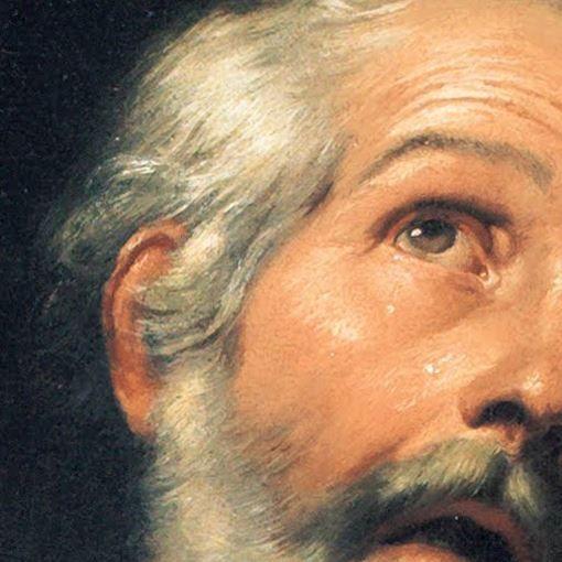 Particolari di opere 3. Bartolomé Esteban Murillo: San Pietro a Tarso. Olio su tela, del 1650-55. Bilbao Fine Arts Museum, Bilbao. Chiamato dall'alto, guarda in su, verso la luce.
