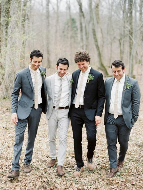 * groom and groomsmen in mismatched suits *