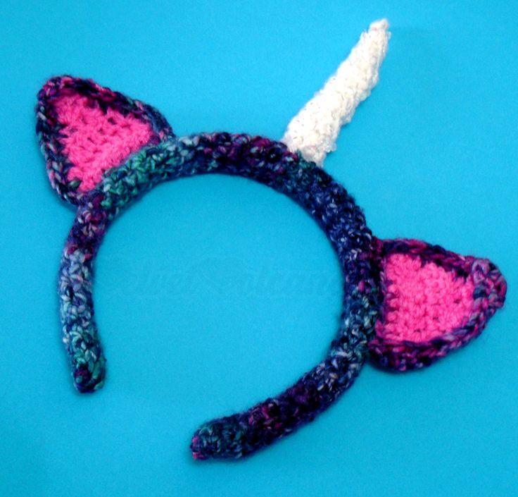 Kawaii Crochet Unicorn Headband with Sparkly Horn with Glass Beads ...