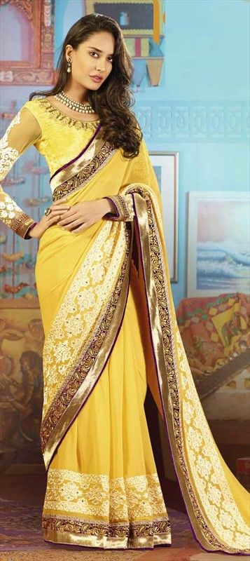 141037, Bollywood sarees, Faux Georgette, Stone, Border, Lace, Machine Embroidery, Gota Patti, Yellow Color Family
