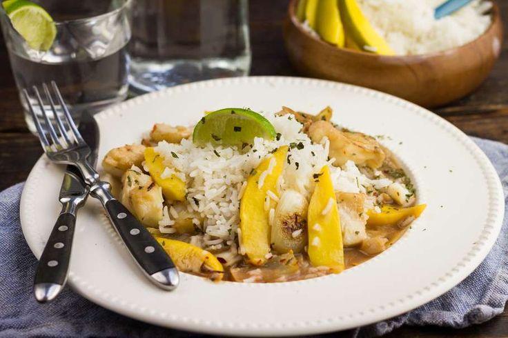Kabeljauw met mango en witte rijst