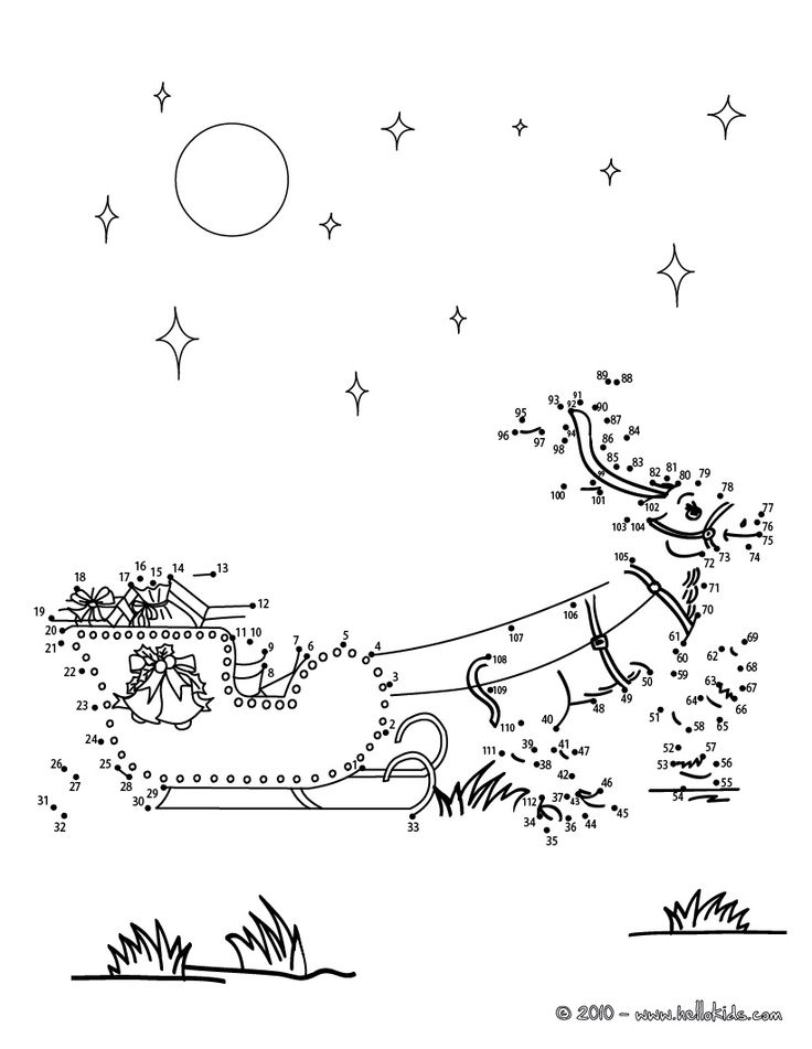 www.hellokids.com : Print page REINDEER AND CHRISTMAS GIFTS dot to dot game