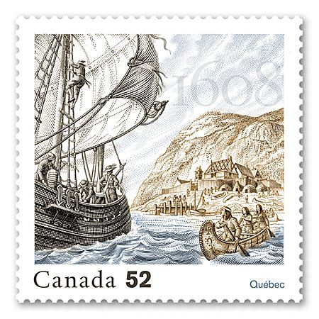 2008 Fondation of Québec. Stamp.