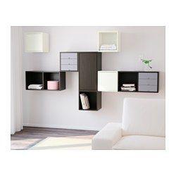 IKEA - VALJE, Vægskab 3 låger, , Du kan lave din egen unikke løsning ved frit at kombinere skabe i forskellige størrelser og med eller uden låger og skuffer.Monteringen er nem og hurtig, fordi den kileformede dyvel bare skal klikkes på plads i de forborede huller.Udnyt din opbevaringsløsning optimalt med PALLRA kasser eller PALLRA minikommoder.