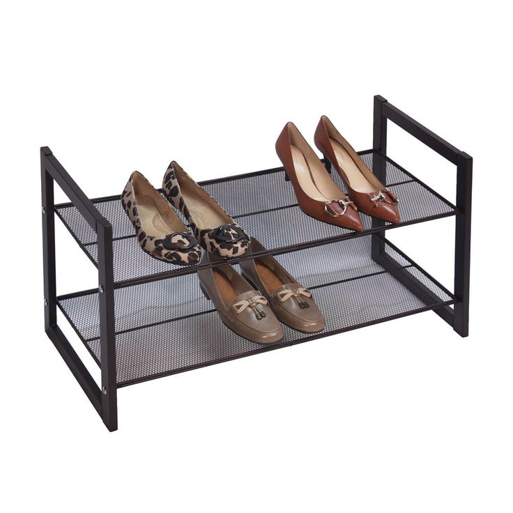 16x30x12 $42 The Bronze 2-tier Flat Stackable Shoe Rack is built to accommodate a growing shoe collection. Stack two or more racks of these mesh shelf racks to create a customized solution for storing shoes.