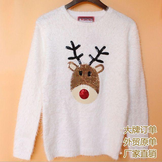 Blanc De Mode Cadeau De Noël Chandail Femmes 2016 D'hiver Mohair pull Chandail De Noël Cerf Animal Pull Pull Femme