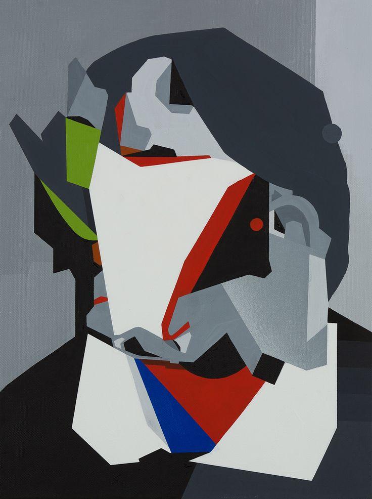 """Tobias Kroeger, """"Lea V"""" Acrylic on Canvas, 2016, 30x40cm - Cubist, Contemporary, Art, Painting, Geometric, Portrait"""