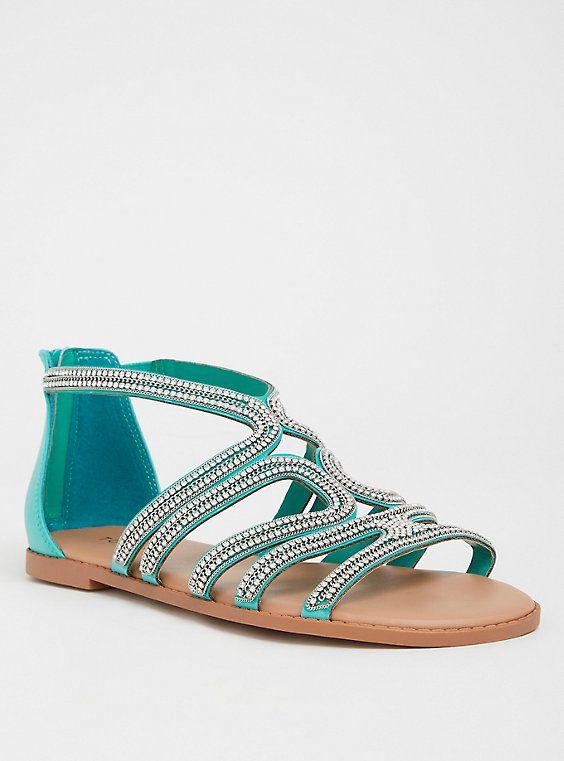 e59f9200165b8 Teal Rhinestone Gladiator Sandal (Wide Width)