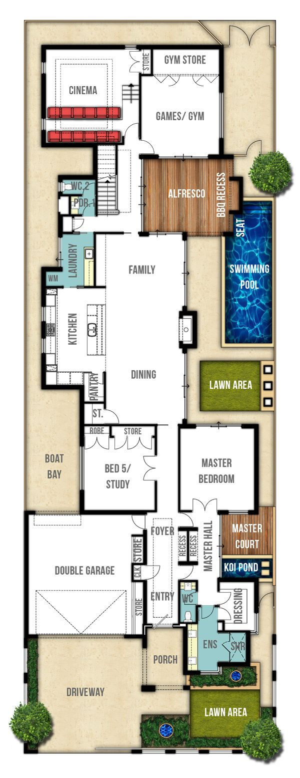 Retreat double storey house plans (ground floor) by Boyd Design Perth