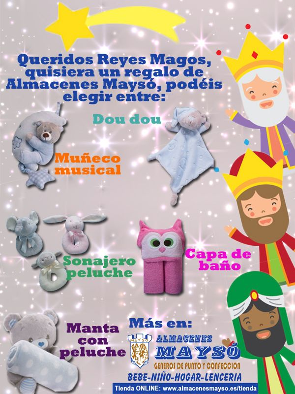 Para los más pequeños de la casa los Reyes Magos tienen todos los #regalos en Almacenes Maysó. #tiendaonline: www.almacenesmayso.es/tienda #shoponline #textilhogar #ropabebé #complementosbebé #lenceria #ropamujer #ropahombre #ropaniños #ropaniña #cuna #textilbebé #regalosnavidad #regalosoriginales #reyesmagos