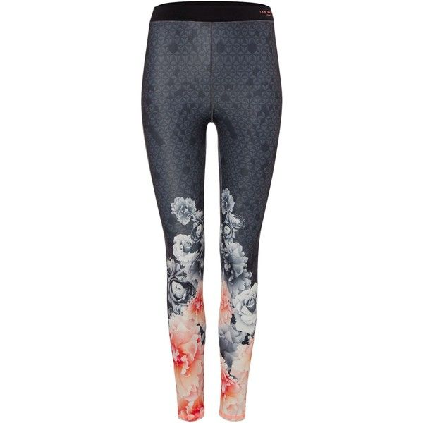 Ted Baker Monorose Border Legging (155 AUD) ❤ liked on Polyvore featuring pants, black, sport & fitness and ted baker