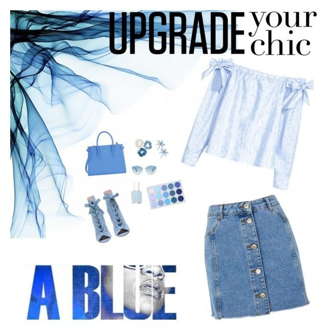 """blue vibes"" by saraisyi on Polyvore featuring H&M, Topshop, Furla, Mudd, Christian Dior, Tory Burch and Essie"