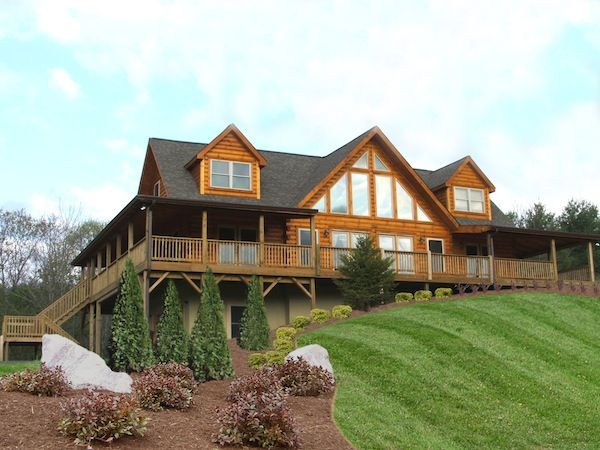 My dream home-Log Cabin style built into a hill! 4BR 4Bath and of course a maid that will clean it all :) Blue Ridge Log Cabins Jocassee Log Home Floor Plan -